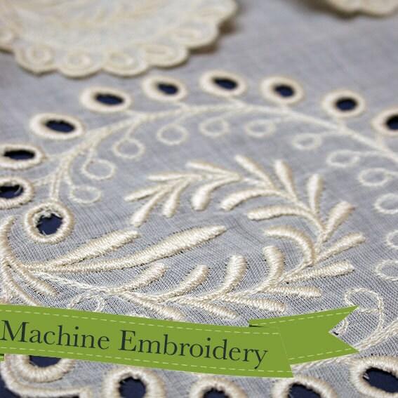 Historical machine embroidery design eyelet border
