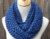 Blue Infinity Scarf - Bulky Knit Scarf - Circle Scarf - Super Soft - Ready to Ship