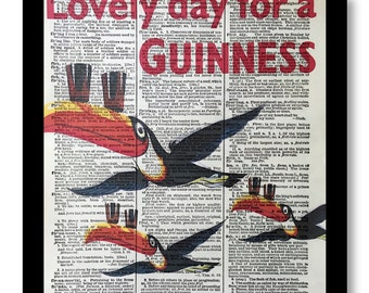 Lovely day for a Guinness Prints, Guinness Art Prints, Bar Art , Toucan Guinness, size 8x10, Vintage Dictionary Art Page Prints, Guinness