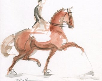 "Dressage Horse Art, ""Suspension"" by Anna Noelle Rockwell, original watercolor painting"