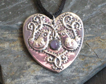 Amethyst Silver Pewter Heart Necklace with Bird Motif