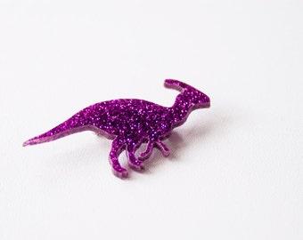 Glitter Parasaurolophus Dinosaur Brooch. Laser Cut Dinosaur. Gfft Ideas. Handmade in Brighton. Acrylic Glitter Sparkly Pin. Perspex Badge