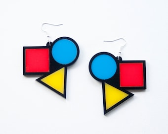 Bauhaus Earrings. Yellow Red and Blue Dangly Earrings. Contemporary Art Drop Earrings. Square Circle Triangle Art Triangle Earrings Abstract