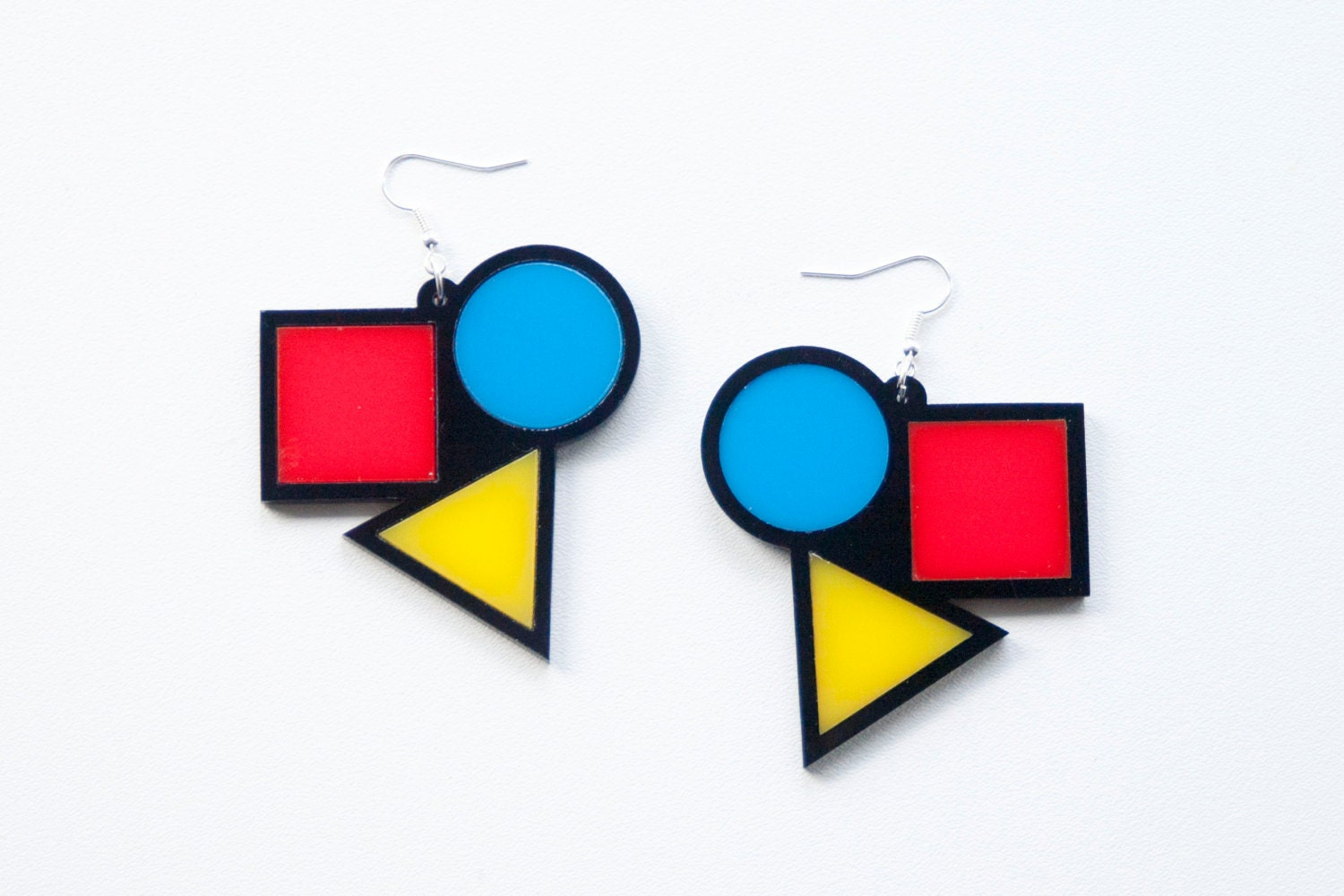 Bauhaus Earrings Yellow Red And Blue Dangly Earrings