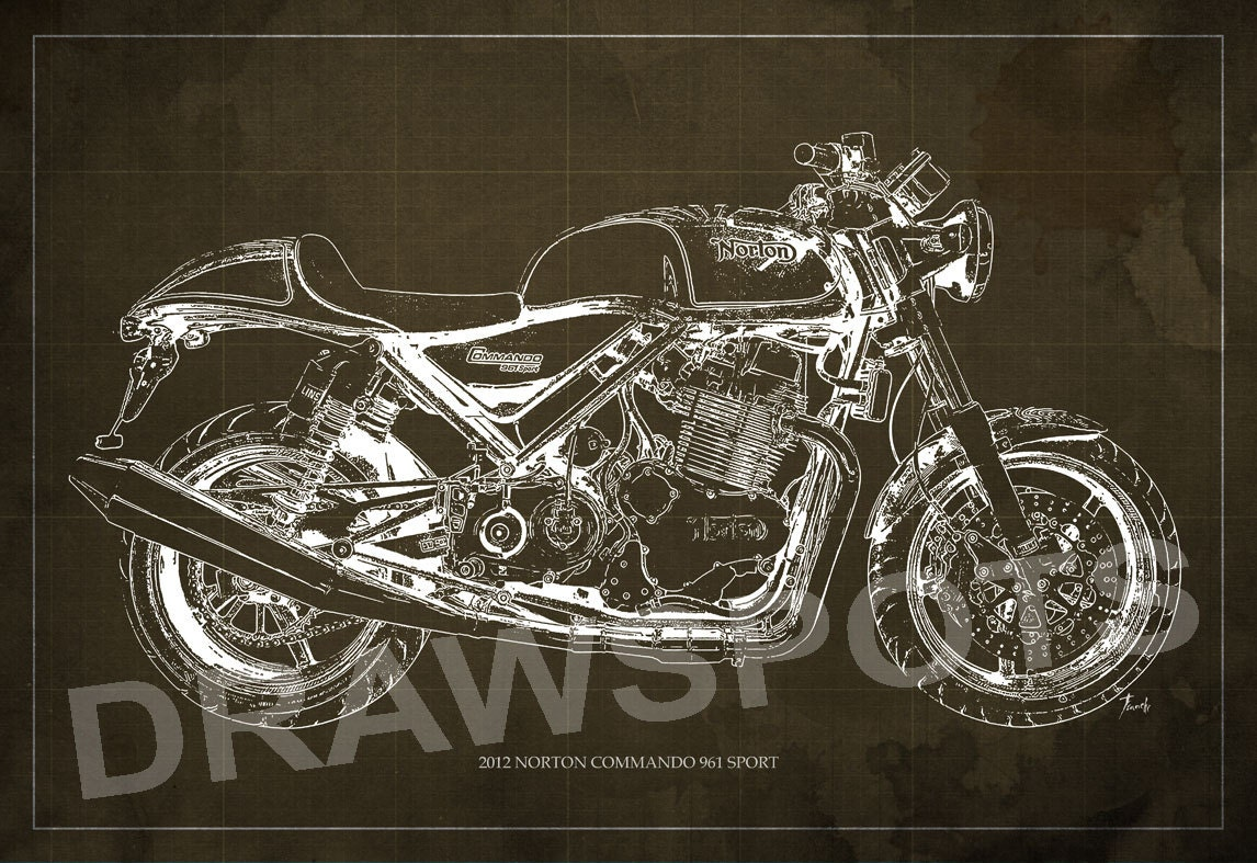 Norton Commando 961 Sport 2012 Blueprint Art Print 8x12in And