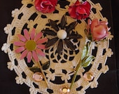 Vintage Pink Enamel Jewelry Lot Includes Vintage Doily, Earrings, Pins for Destash