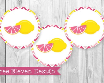 Lemonade PRINTABLE Cupcake Toppers