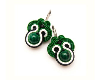 Emerald Green Earrings Dangle, Short Earrings Lightweight, Soutache Earrings Small, Unique Gift for Women, Under30 Gifts Ideas, Christmas.