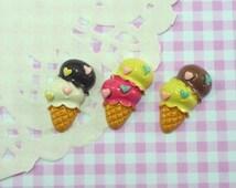 3 pcs/6 pcs Double Scoop Ice Cream Cone Cabochon, Assorted/Mixed Strawberry Vanilla Chocolate Icecream Cone Deco, Flatback, Sweet Dessert