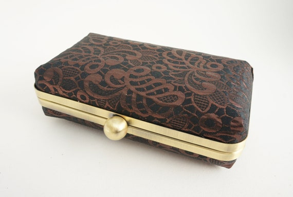 Gorgeous Black & Copper/Bronze Minaudière Box Clutch - Evening/Bridesmaid/Prom/Wedding Purse - Includes Chain - Ready to Ship