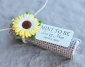 ON SALE sunflower wedding favors with personalized tag - set of 24 mint wedding favors, burlap, rustic, fall theme, autumn, chic, sunflower