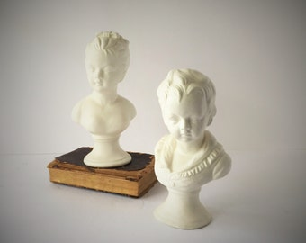 Vintage Brother Sister Porcelain Busts Louise and Alexandre Brongniart by Houdon, Reproduction Bust Sculptures of 18th Century Boy and Girl
