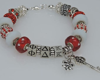 PHI DELTA KAPPA 2 European Style Large Hole Bead Professional  Educators Bracelet with Charms and Love Bead