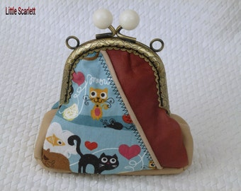 retro purse beige and brown leather and fabric cats