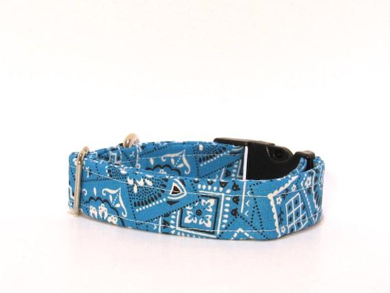Turquoise Dog Collar,  Bandana Dog Collar, Country Dog Collar, FREE SHIPPING, adjustable dog collar