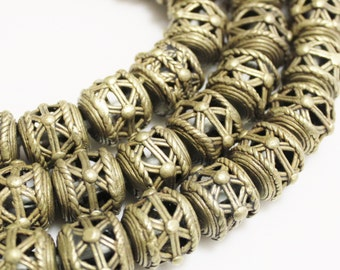 8 Unusual African Brass Beads, Tribal Spacer Beads, Ethnic Beads (O-110)