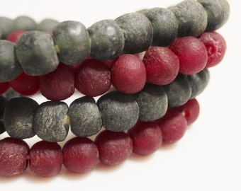 Dark Red and Gray African Glass Beads, Eco Friendly Recycled Glass Beads (R109)