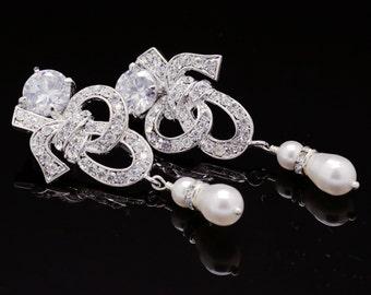 Rhinestone Pearl Bridal Earrings, Swarovksi Bridal Earrings, Art Deco Style Wedding Bridal Earrings, Knot Earrings, Bridal Jewelry, OLIVIA