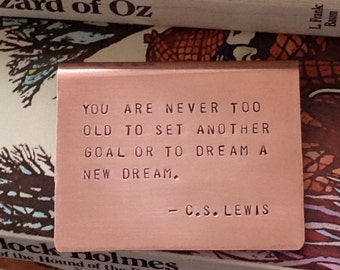 Choose from 25 Quotes or Custom Quote, Copper Bookmark, Hand-stamped, Personalized, LEWIS