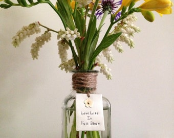 """Glass bud vase with metal tag, hand-stamped """"bloom"""" tag, glass bottle, housewarming or birthday gift, bud vase, nickel silver & brass"""