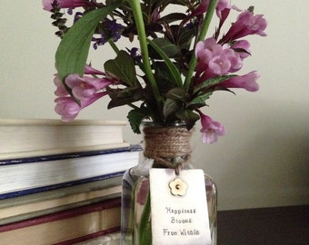 """Birthday, anniversary or Mother's Day gift, Glass bud vase, bottle, with hand-stamped """"bloom"""" tag, nickel silver with brass flower"""