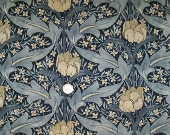 LEE JOFA KRAVET Wm Morris Inspired Art Nouveau Linen Fabric 10 Yards Indigo Blue Multi