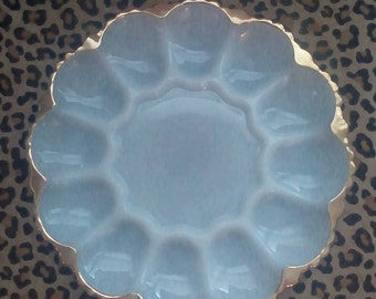 Milk Glass Egg Plate with Gold Rim Anchor Hocking Kitchen
