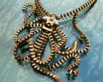 Steampunk Octopus Pendant Necklace - Zipper Necklace - Octopus Jewelry