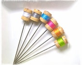 Mini Thread Spool Pin Toppers or Decorative Sewing Pins, Modern Colors - PT62