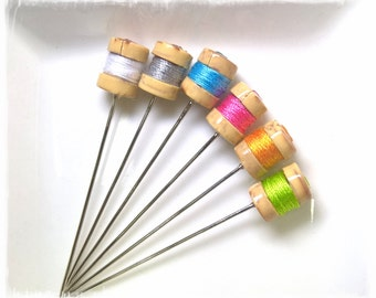 Mini Thread Spool Pin Toppers, Modern Colors - PT62