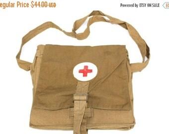 Red cross Soviet army medical bag shoulder strap bag vintage steampunk khaki green doctors bag nurse bag