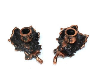Leaf Candleholders Leaf Shaped Home Decor Copper Colored Candleholders Soviet Vintage, Copper Candleholders, Rustic metal candleholders