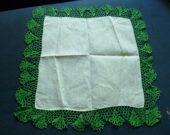 Linen Handkerchief Hand Crocheted Vintage Hankies Never Used