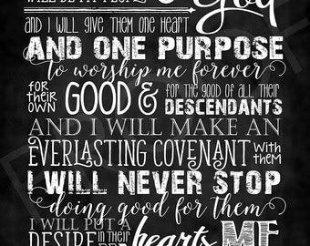 Scripture Art - Jeremiah 32:38-40 ~ Chalkboard Style