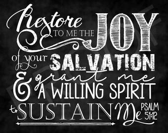 Scripture Art - Psalm 51:12 ~ Chalkboard Style
