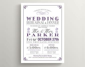 Wedding Rehearsal and Dinner Invitation \ Printable Invitation \ Vintage Poster Invitation \ Purple and Grey Invitation (RD08)