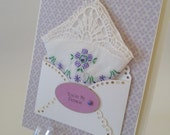 You're My Person Vintage Embroidered Handkerchief Lavender Lace Friend Adopted Mom Bridal Shower Gift Keepsake Spring Greeting Hanky Card