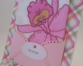 Vintage Embroidered Applique Handkerchief Pink Lily Just Because Birthday Graduation Friendship Thinking Of You Hanky Keepsake Card