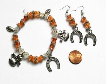 Texas Longhorns Bracelet Set, Longhorns, Texas Football, Football Accessories, Gifts for Her, University of Texas, College Football, orange