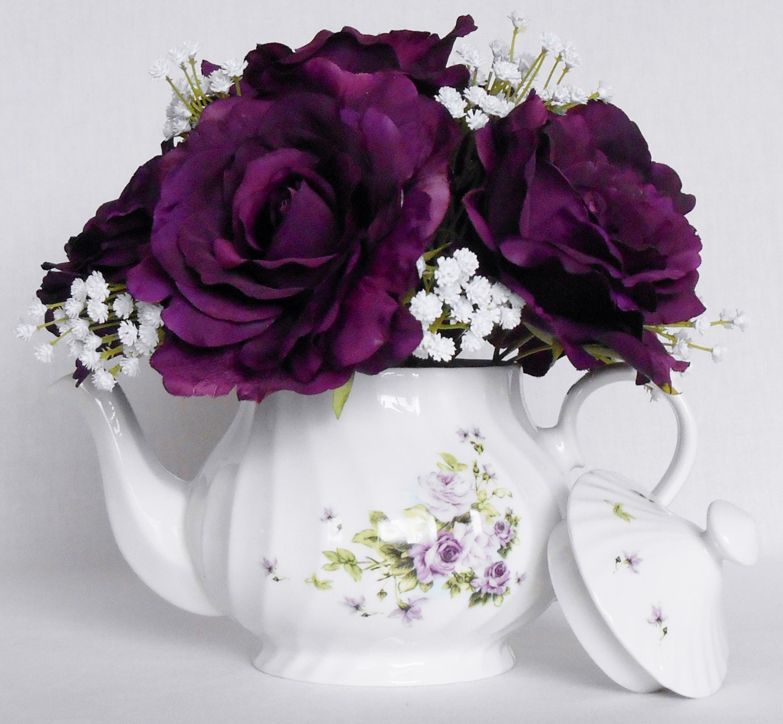 Teapot Silk Flower Arrangement Deep Purple by BeautyEverlasting