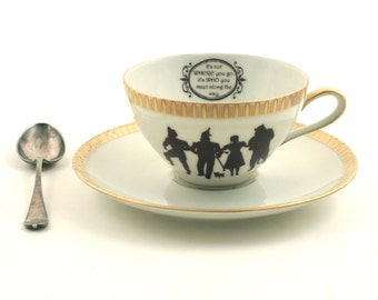 Altered The Wizard of Oz Cup Saucer Dorothy Friendship Silhouette Porcelain Gold Trim Friend Present Quote Frank Baum White Brown Romantic