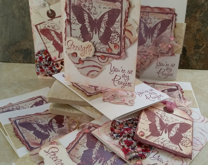 3 Christian Notecards, in my Prayers, Handmade encouragement support card Butterfly Heat Emboss, Handmade cards by collegedreaminkid #511