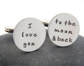 I Love You to the Moon and Back Cuff Links - Wedding Gift Groom Anniversary Christmas Gift Cuff Links Custom Cufflinks