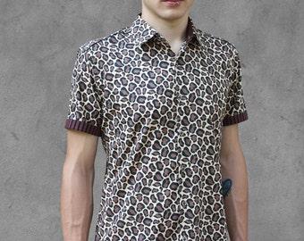 Leopard print shirt mens, short sleeve - Cheetah - BAÏSAP
