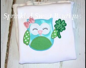 Girls St. Patty's Patricks Day Shamrock Owl Applique Monogram Shirt