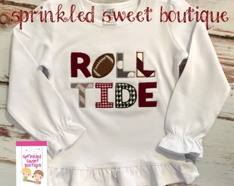 Girls Ruffle Custom Applique University Alabama Roll Tide Football Shirt -Short or Long Sleeve SEC