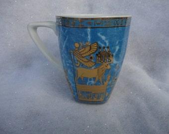 Vintage Arpo Romania Blue Gold Egyptian God Coffee Mug Made in Egypt El Karnak Co The Egyptian Gods Ancient Egypt Gods Horus Atum