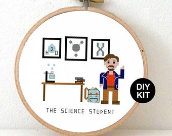 Easy Cross Stitch Kit For Beginners DIY Gift Science Student Geek