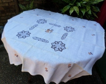 "Lovely Crisp Ivory Belgian Linen with Embroidered Snowflake Cut Out Design-41""x40""-Tablecloth"