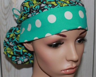 Mosaic in Turquoise with Turquoise Polka Dot Band,Surgical Scrub Hat ,Scrub Cap,Front Fold  Ponytail